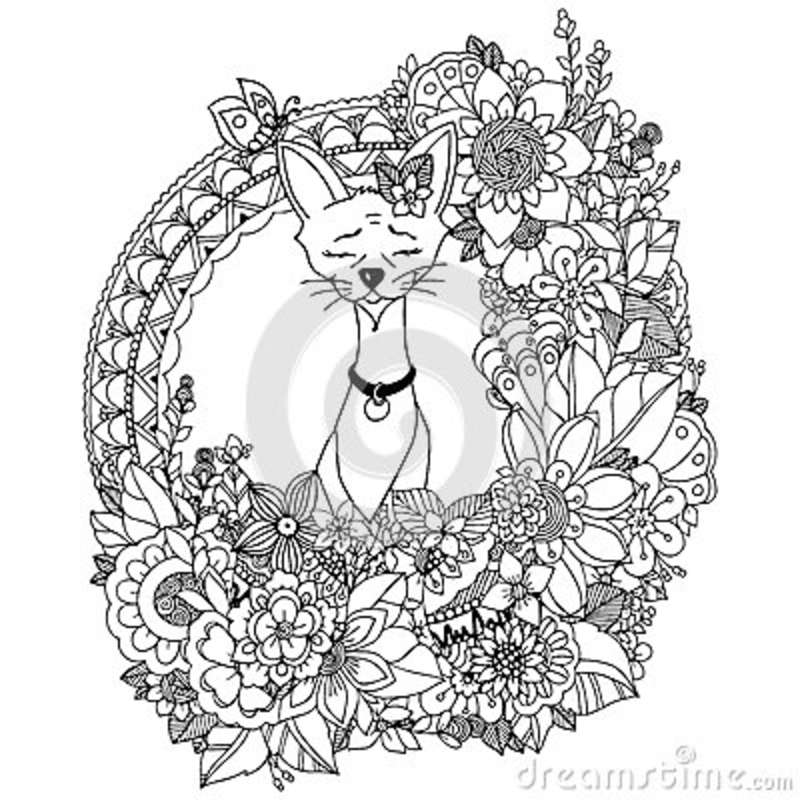 Doodle Drawing Egyptian Cat In The Floral Frame Coloring Book Anti Stress For Adults Black White