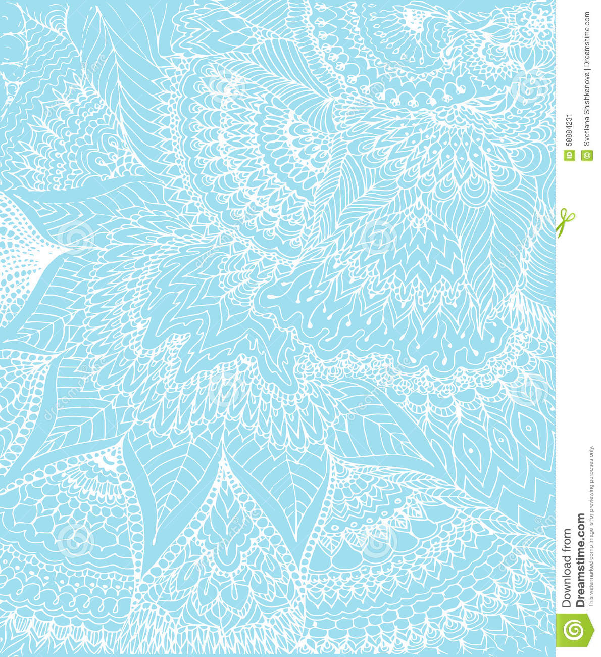 Vector Illustration Of Doodle Drawing On The Light Blue Background