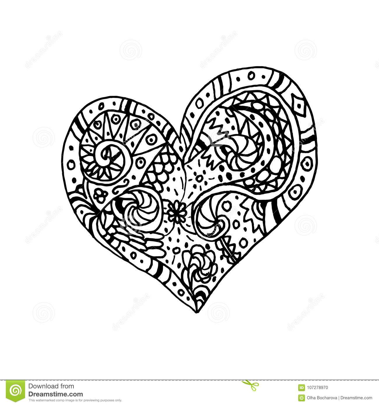 Vector Illustration Of Doodle Hand Drawn Heart. Coloring ...