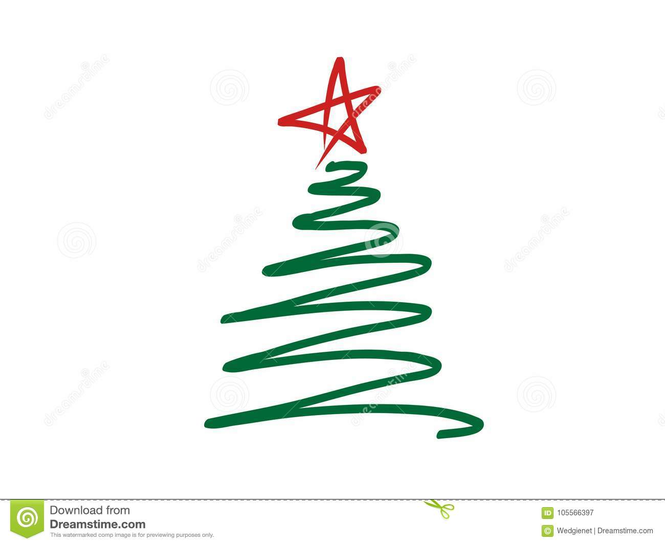 Vector illustration of doodle-style stylized Christmas tree scribble with red star on top