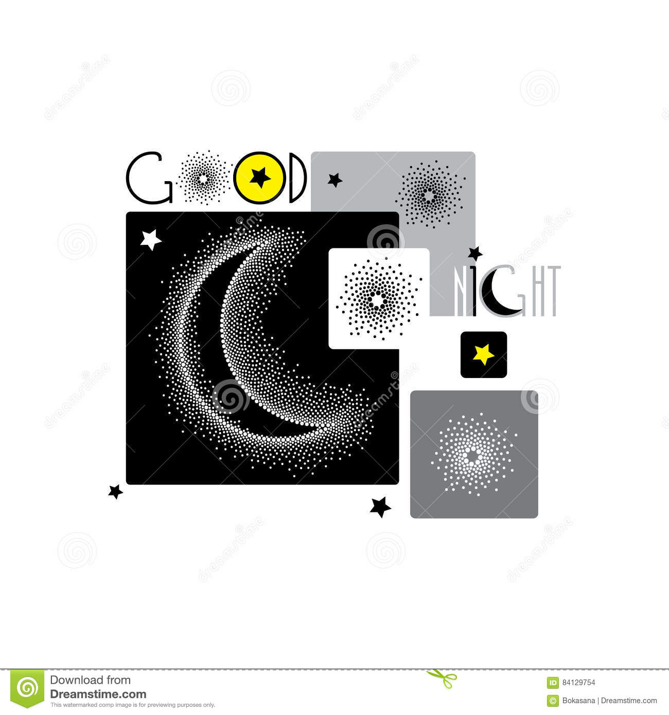 Vector Illustration With Dotted Half Moon Stars And Squares