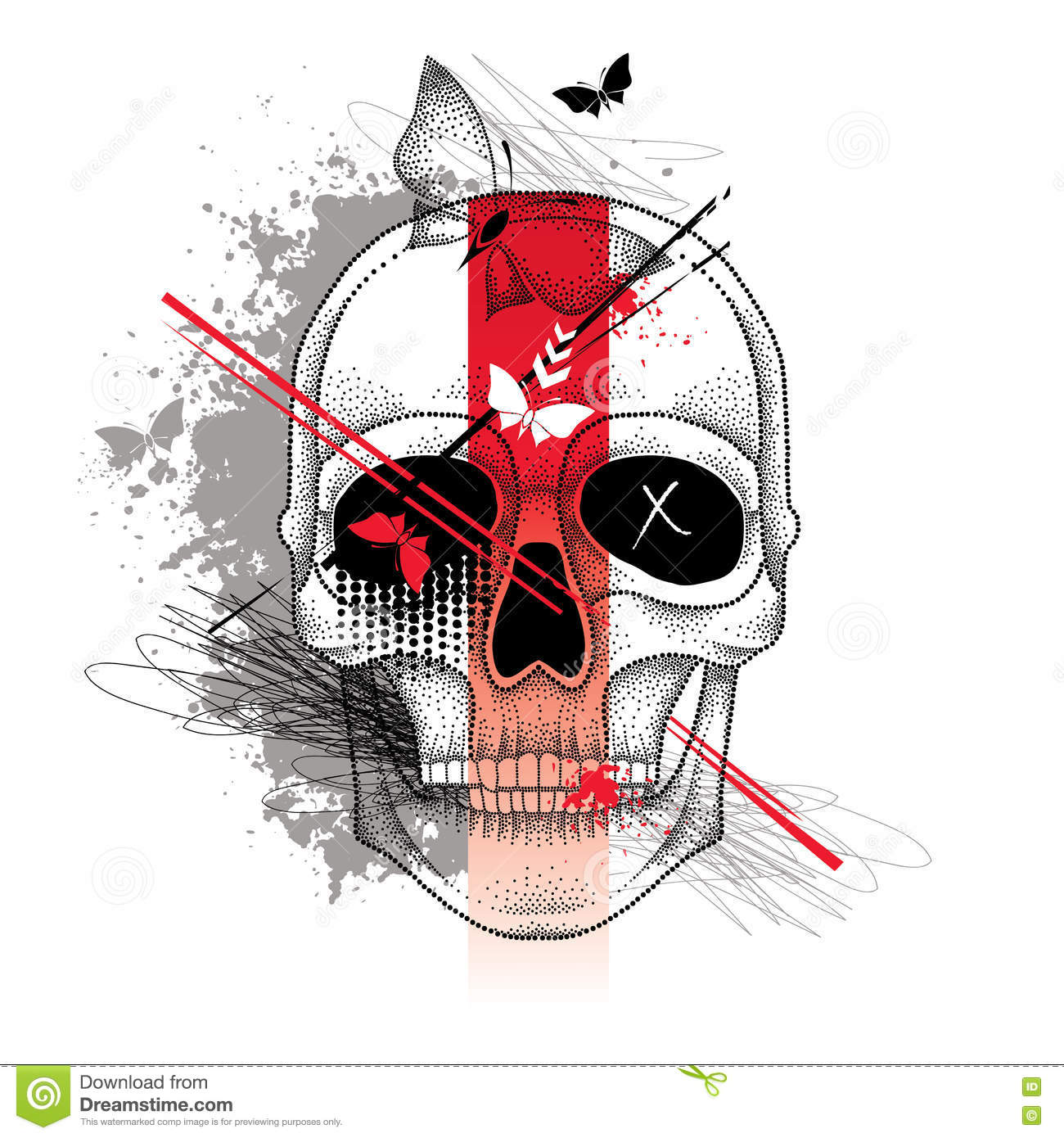 Vector Illustration With Dotted Half Woman Face And Skull Abstract
