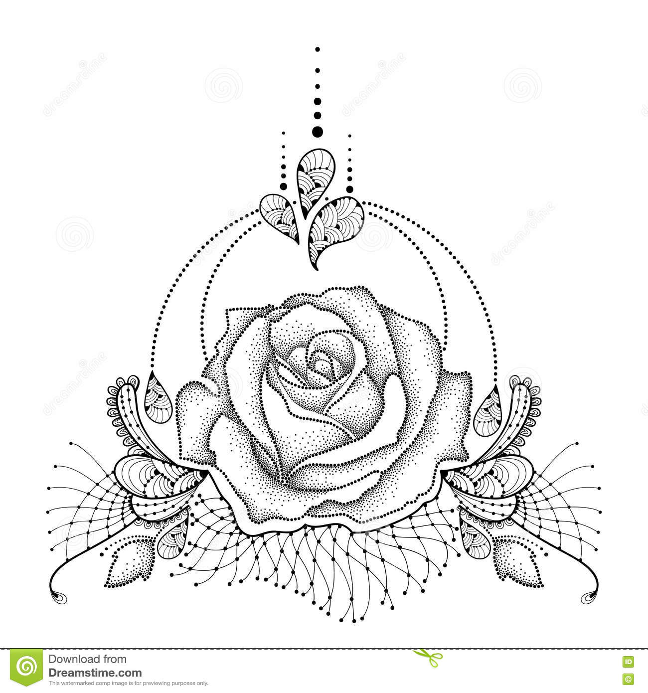 Black Flower Rose From Lace On White Background: Vector Illustration With Dotted Rose Flower In Black Stock