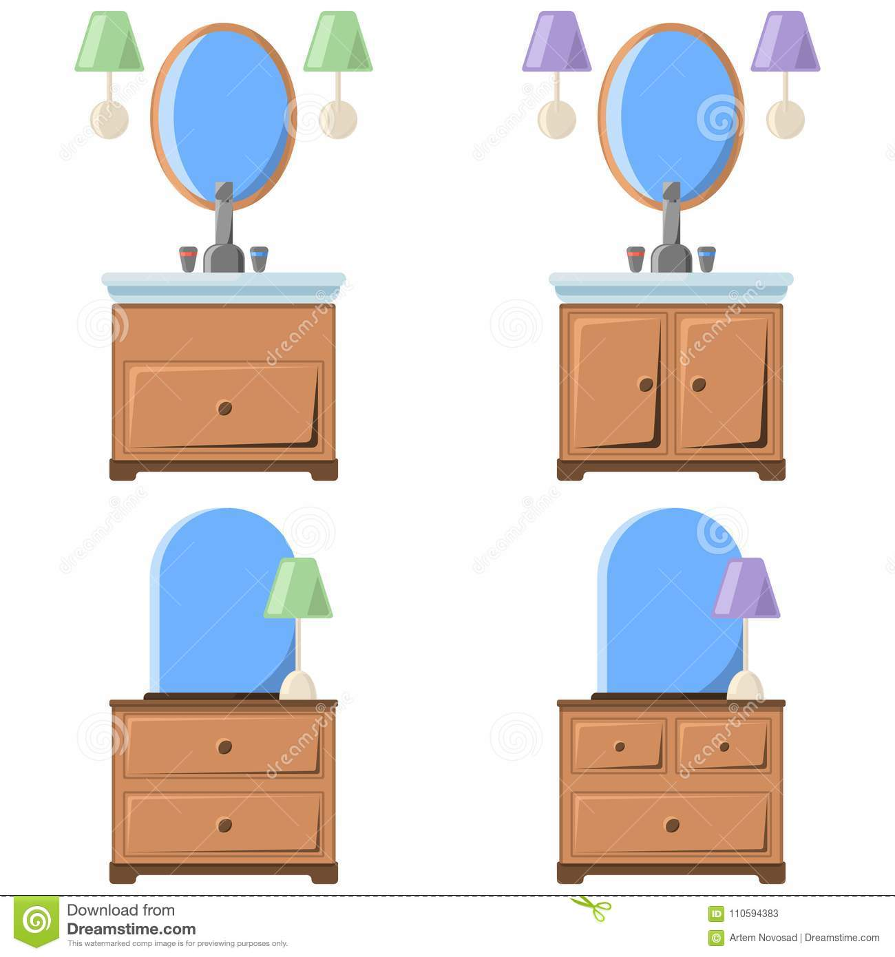 Vector Illustration Of A Drawing Of A Bedside Table With A