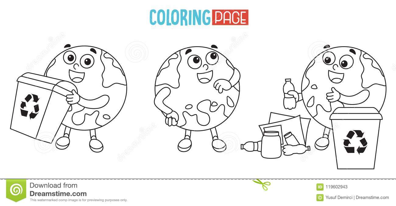 Vector Illustration Of Earth Coloring Page Stock Illustration ...