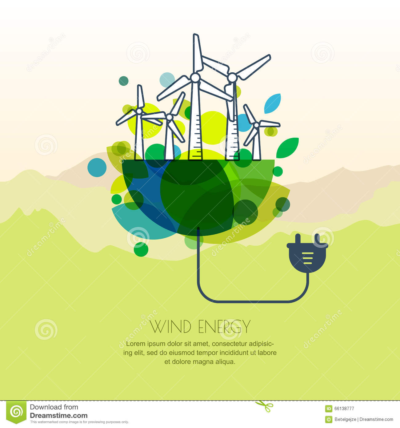 Vector Illustration Of Earth With Wind Turbines And Wire Plug Generator Wiring