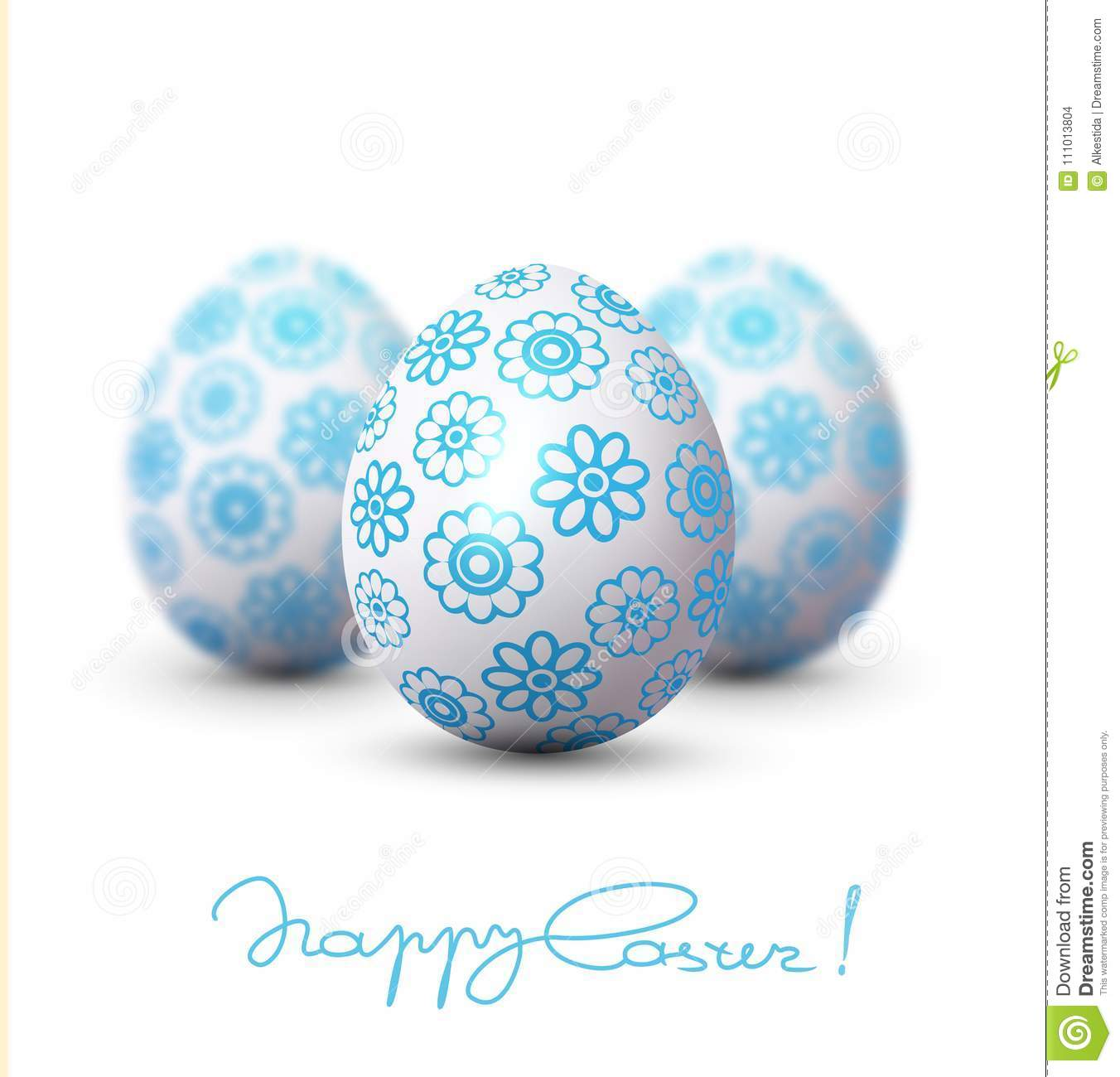 Easter Egg With A Blue Pattern On The Background Of Two Blurred Eggs Design Element Template Wallpaper Flyers Invitation Brochure Greeting Card