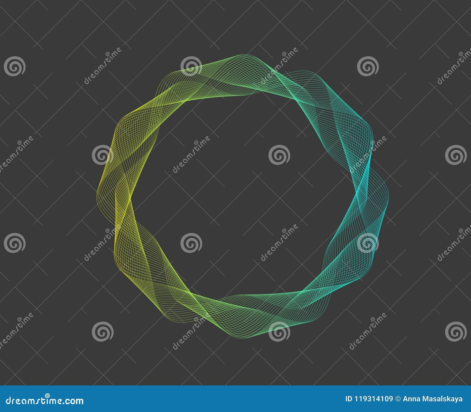 Vector Illustration einer Abstraktion der gelben blauen Farblinien in Form eines Kreises