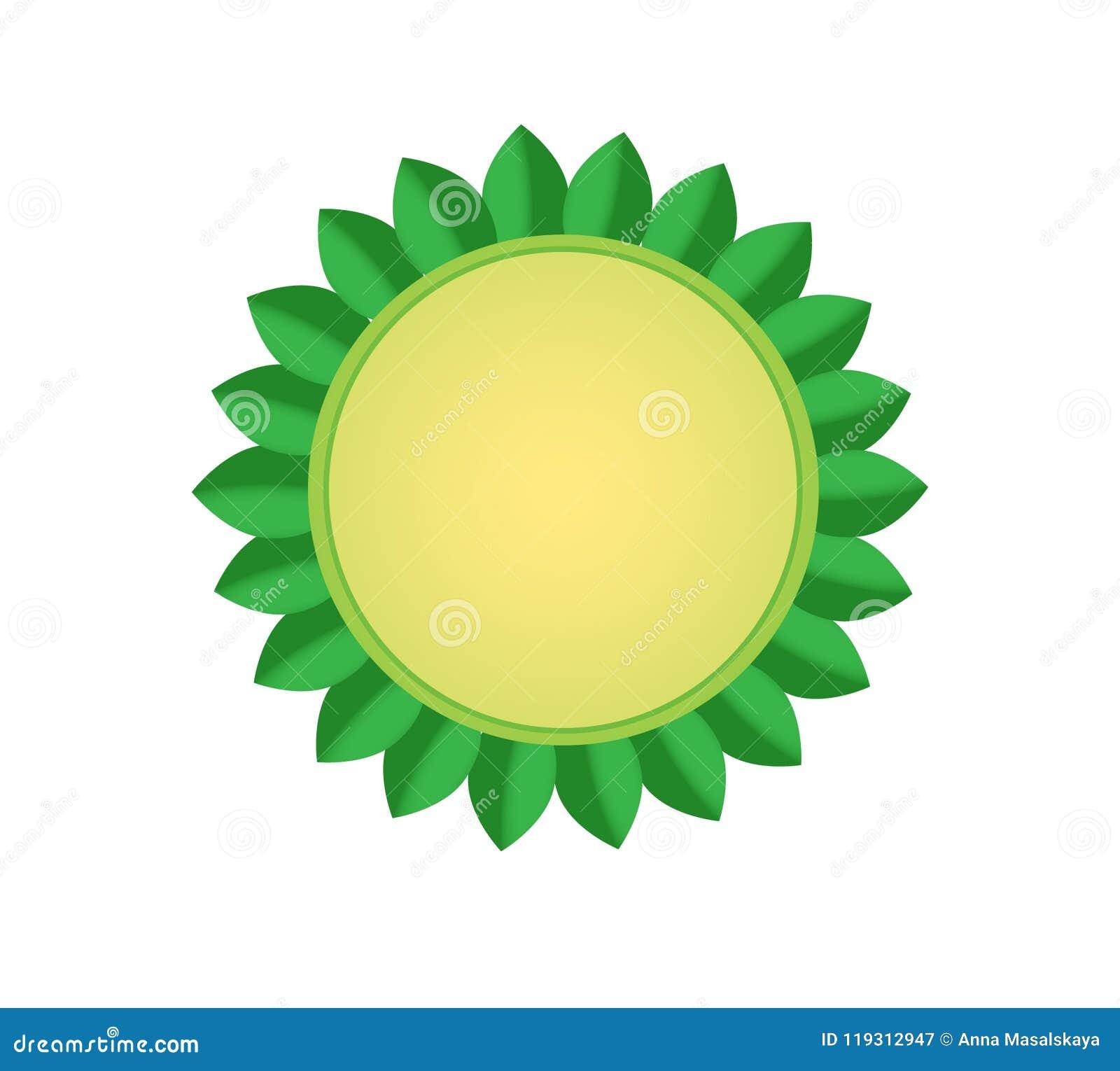 Vector Illustration eines beige Kreises mit grünen Blättern auf einem weißen Hintergrund