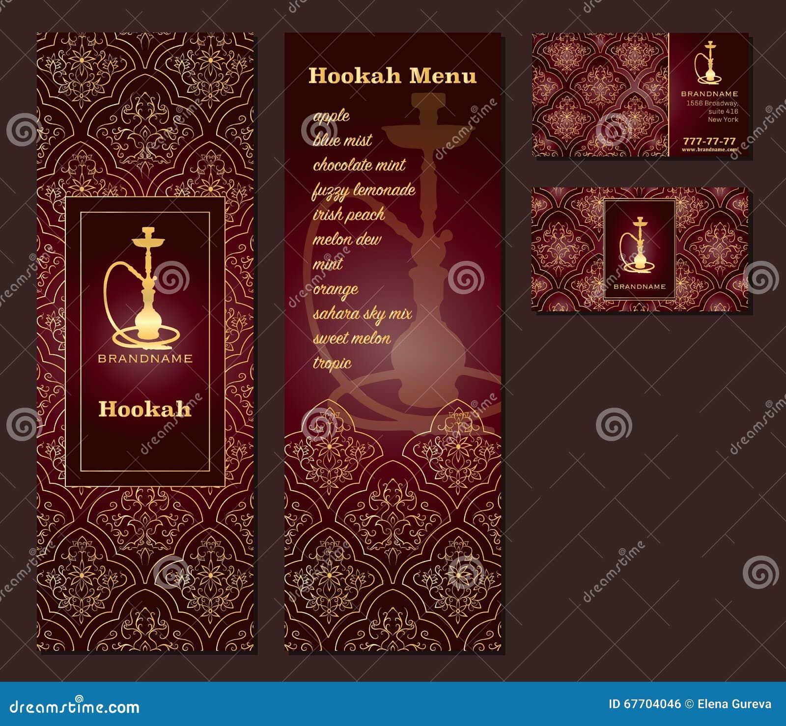 Vector Illustration Eines Menüs Für Eine Arabische Orientalische Küche Des  Restaurants Oder Des Cafés Mit Huka, Visitenkarten