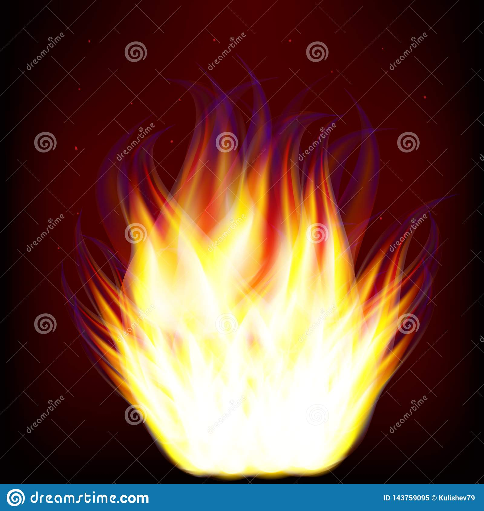 Vector drawing image of burning fire flame on dark background
