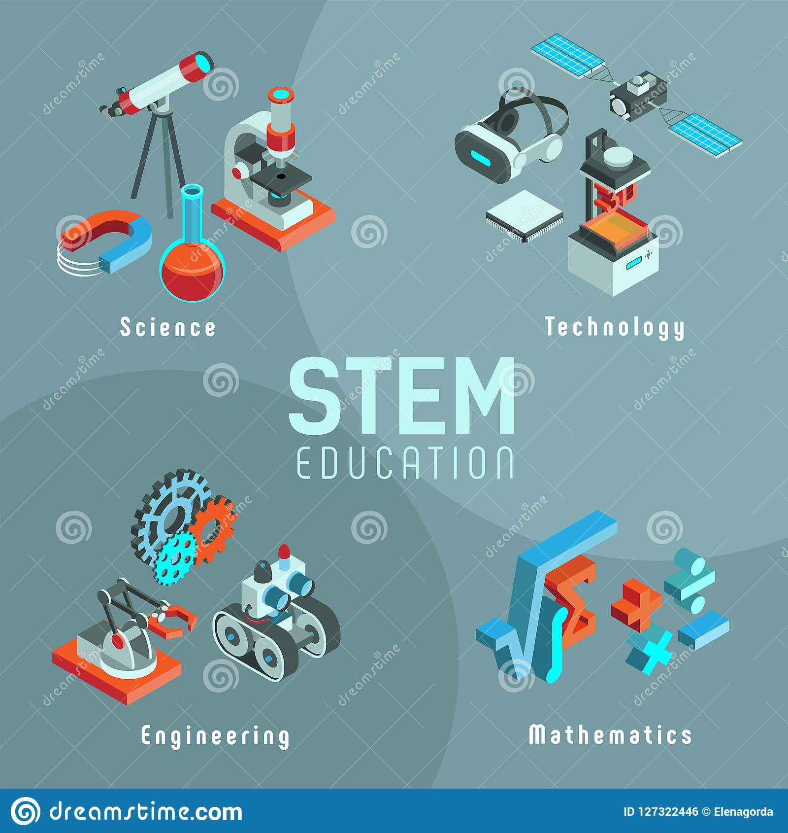 Stem Science Technology Engineering Math: STEM Set Of Isometric Icons Stock Vector