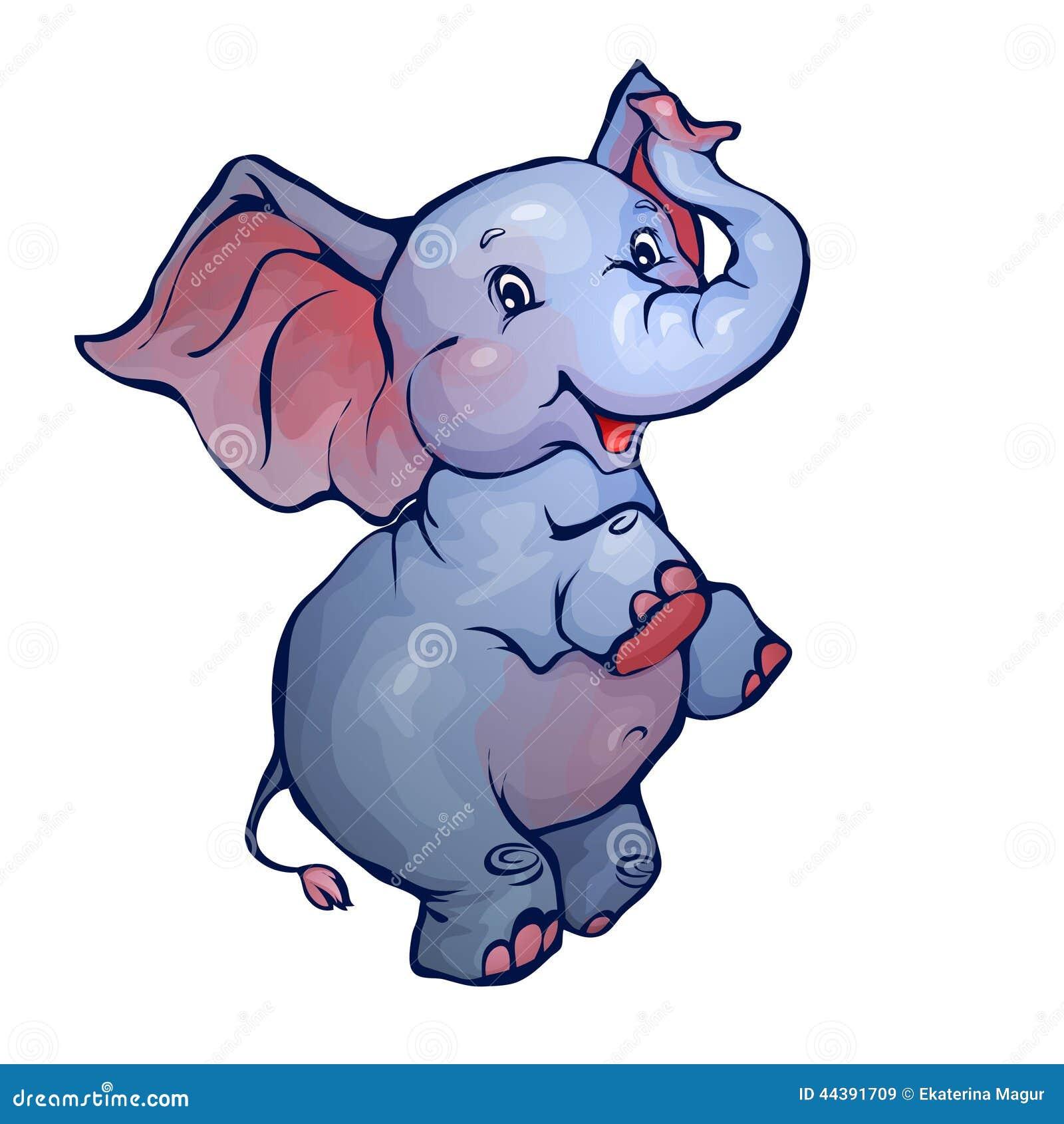 Vector illustration of elephant in cartoon style