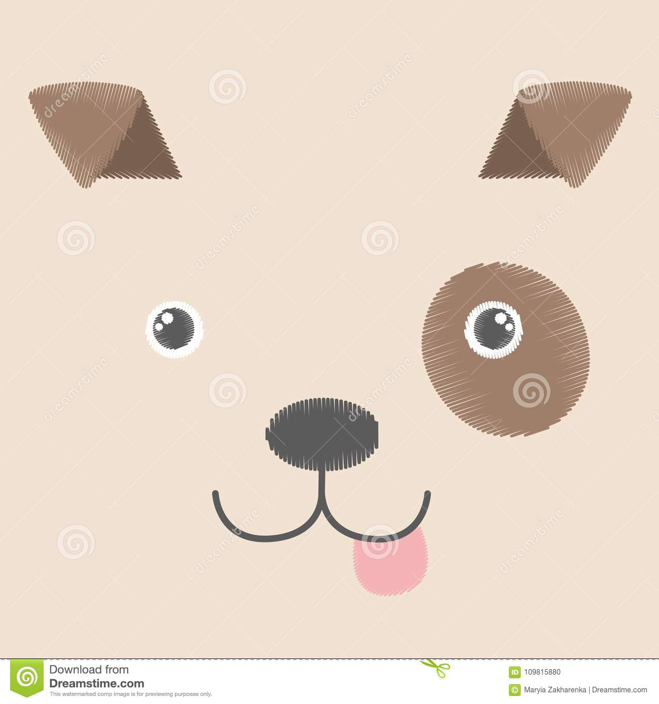 vector illustration of embroidery of brown toy dog. baby kawaii