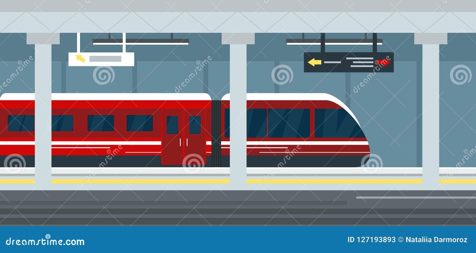 Vector illustration of empty subway station interior, subway railway station underground, metro platform and train