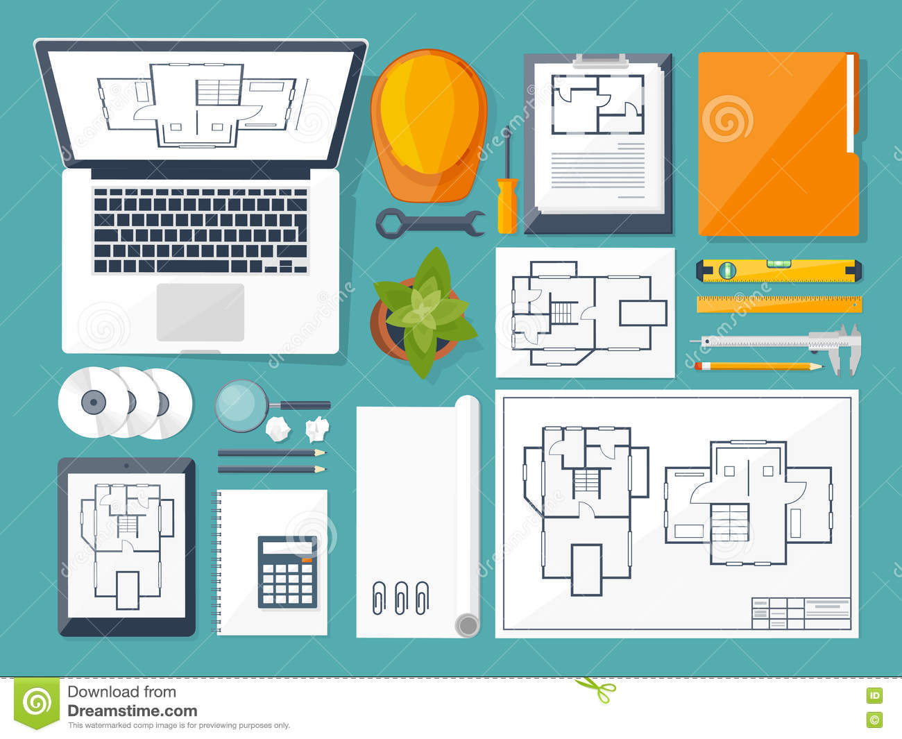 Construction and engineering illustration cartoon vector for Architecture and design
