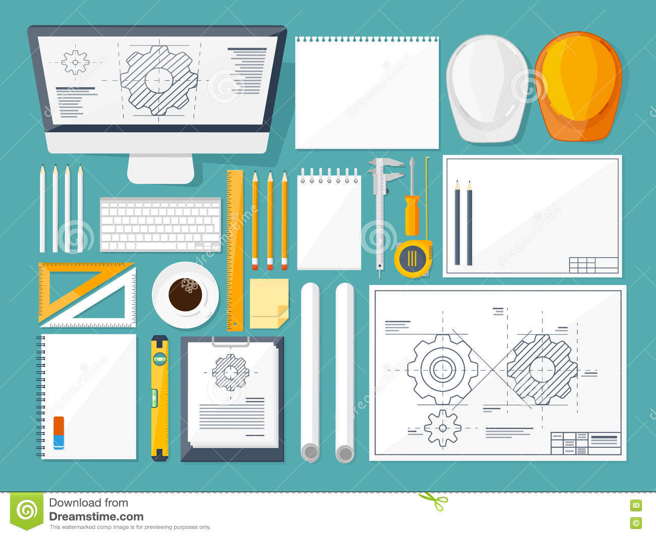 Vector illustration. Engineering and architecture. Drawing, construction. Architectural project. Design, sketching
