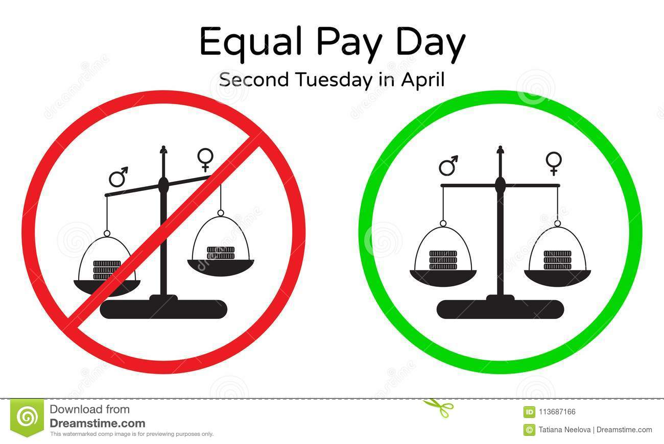 No Inequality Pay Between Men And Women Vector Illustration Of
