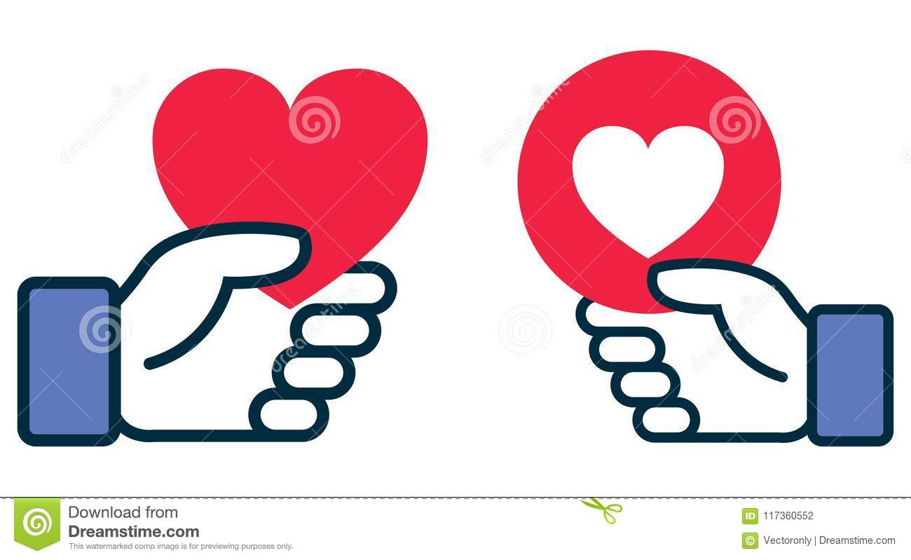 Facebook Heart Icon In Hand Editorial Photography Illustration Of