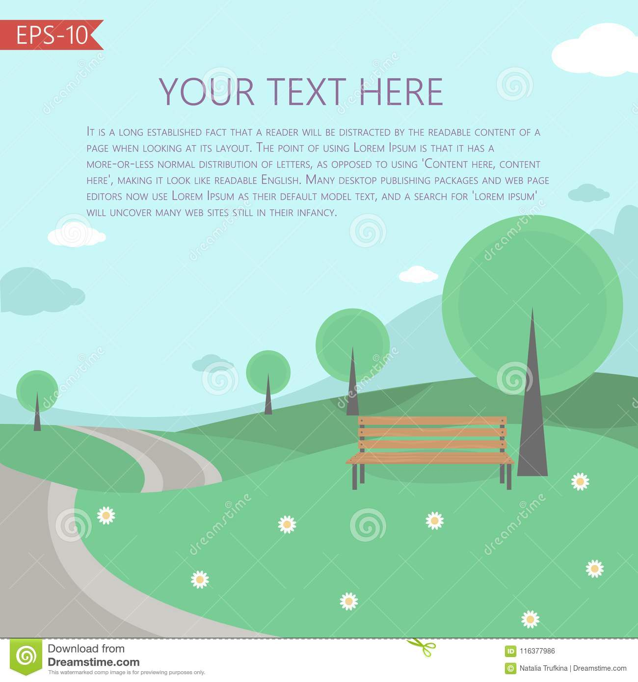 Vector Illustration With Fairy Tale LandscapeTemplate