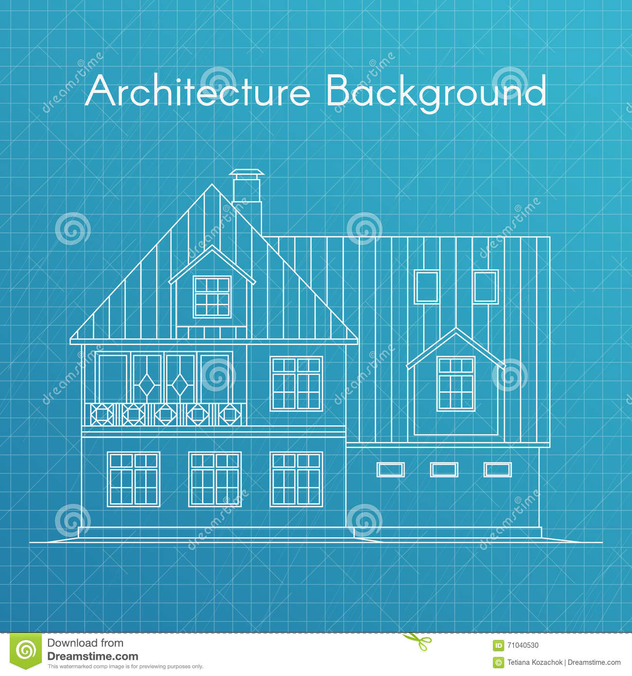 Vector illustration of family house or cottage architecture vector illustration of family house or cottage architecture blueprint background large private cottage for real estate brochures or web icon malvernweather Images