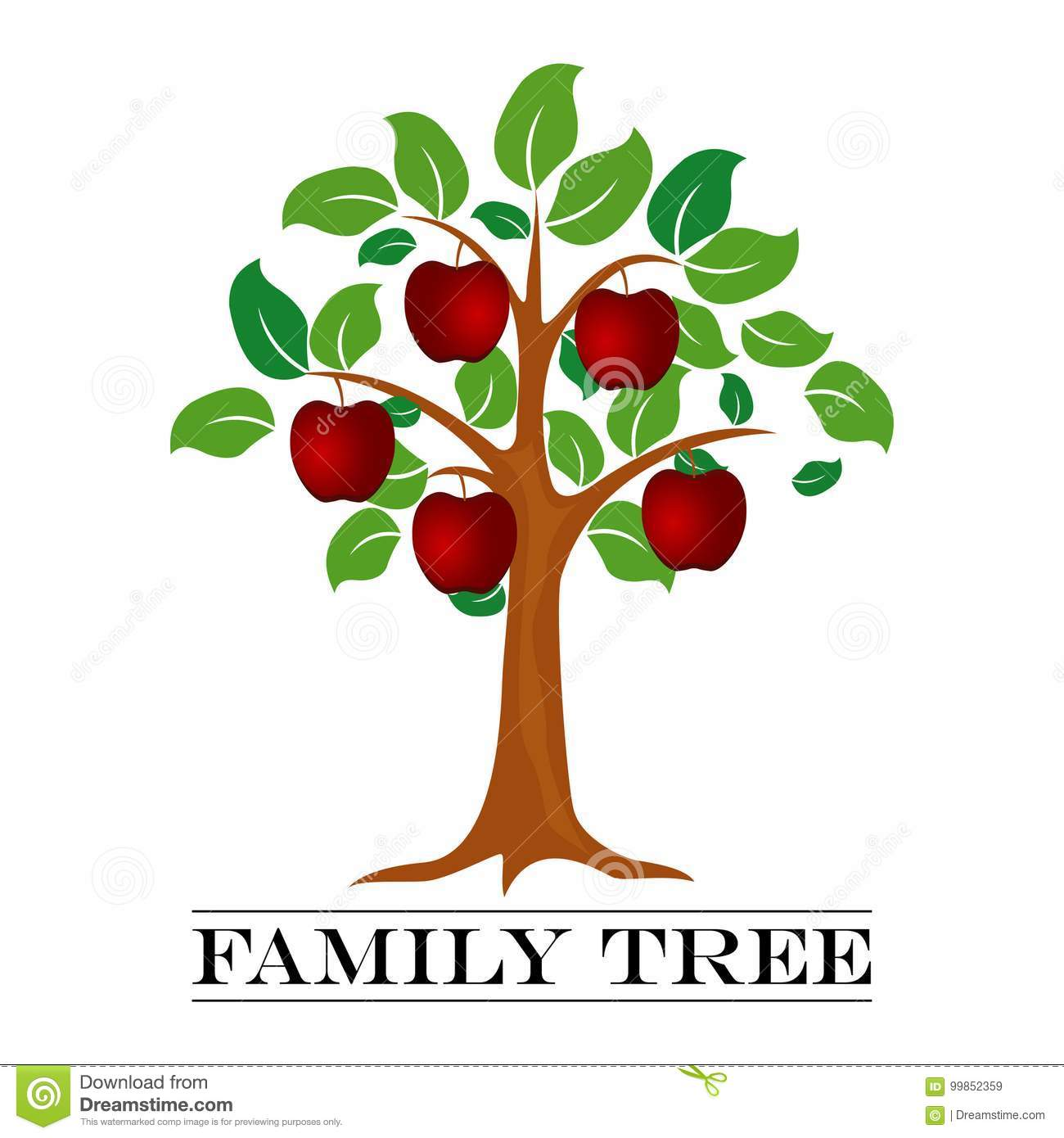 A Vector Illustration Of Family Tree Template. Stock