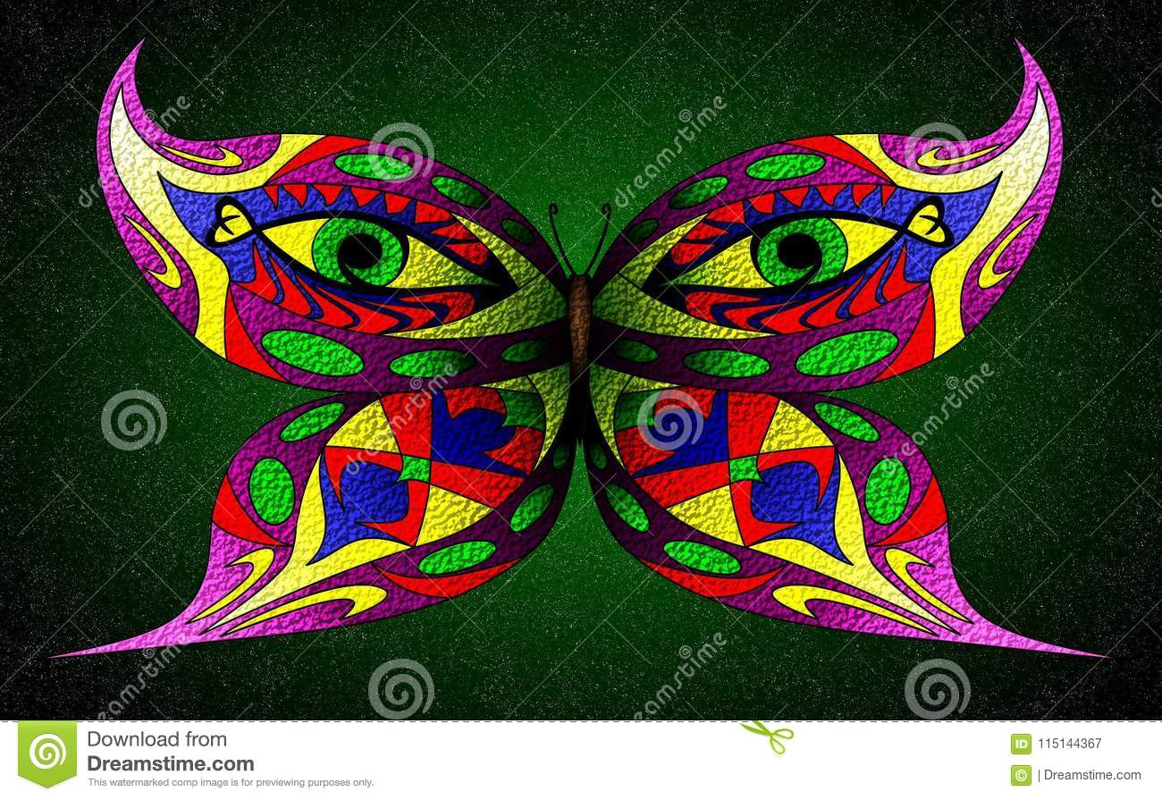 Vector illustration of fantasy butterfly with two green eyes on wings isolated on a dark green starry background
