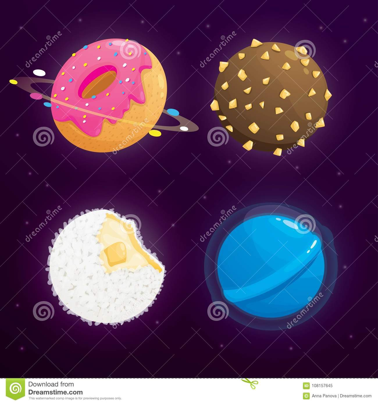 food planet galaxy concept fantasy planets set on cosmic background