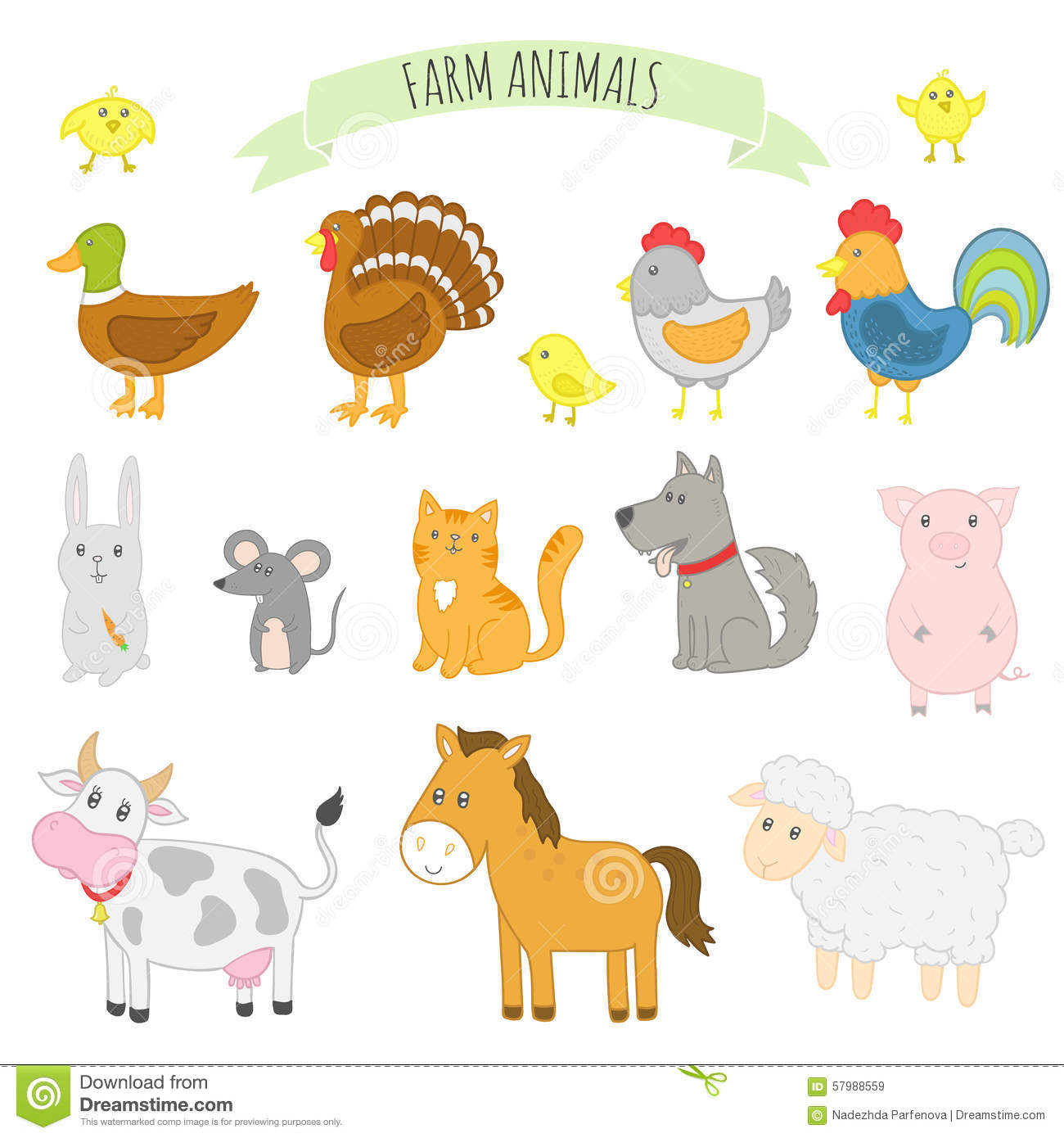 Farm Animals For Kids Vector Illustration Of...