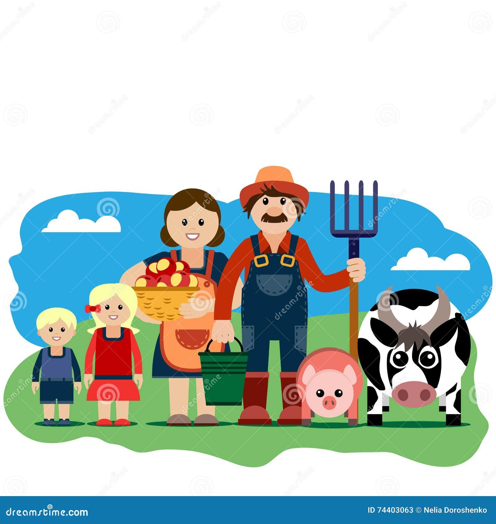 Vector Illustration Of Farm Family. Stock Vector ...