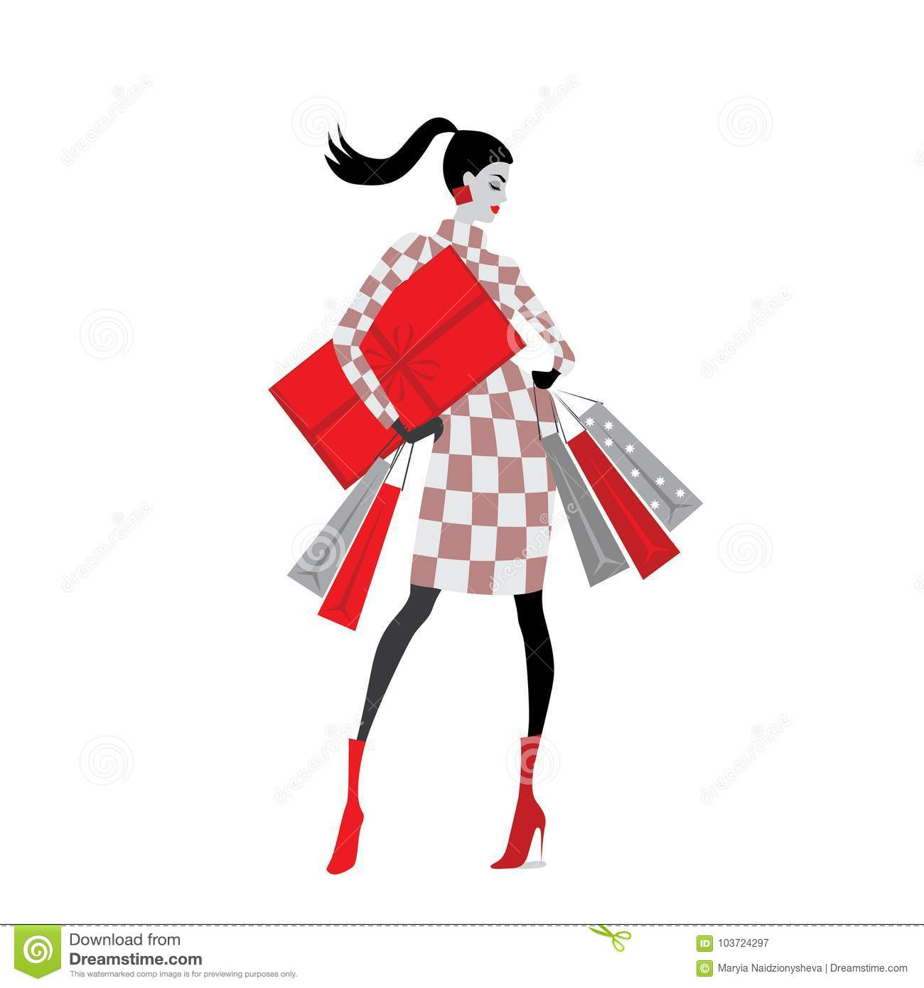 Vector Illustration Of Fashion Girls With Christmas Gifts Stock Illustration Illustration Of Holiday Friday 103724297
