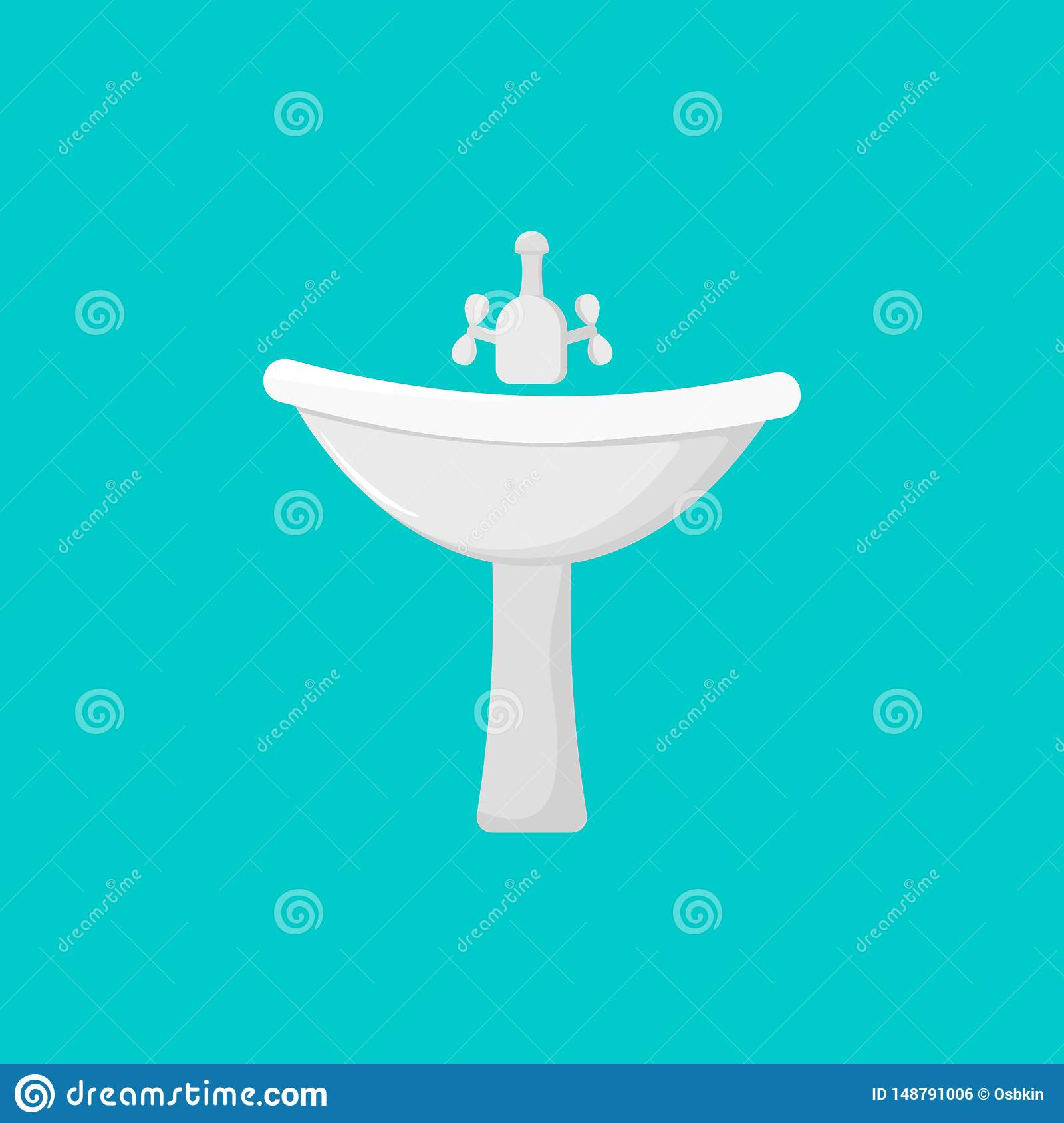 Cartoon tap icon and sink icon