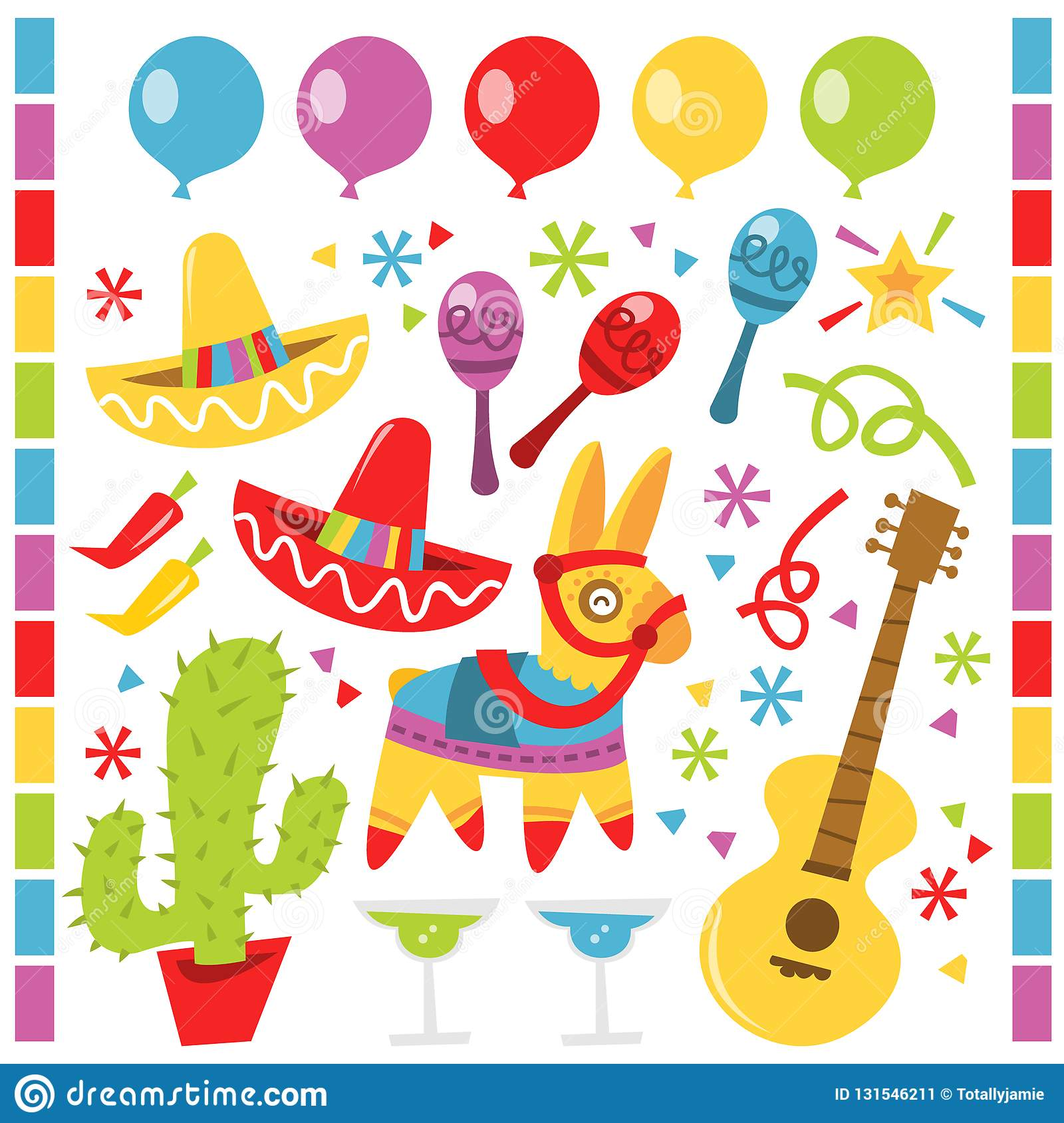 A vector illustration features retro Mexican party design elements against a white background.  There are red and yellow sombrero. Party hats.  There is a stock image
