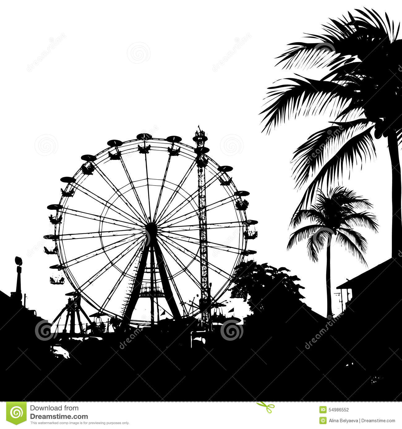 Vector Illustration Of Ferris Wheel And Palm Tree Stock ...