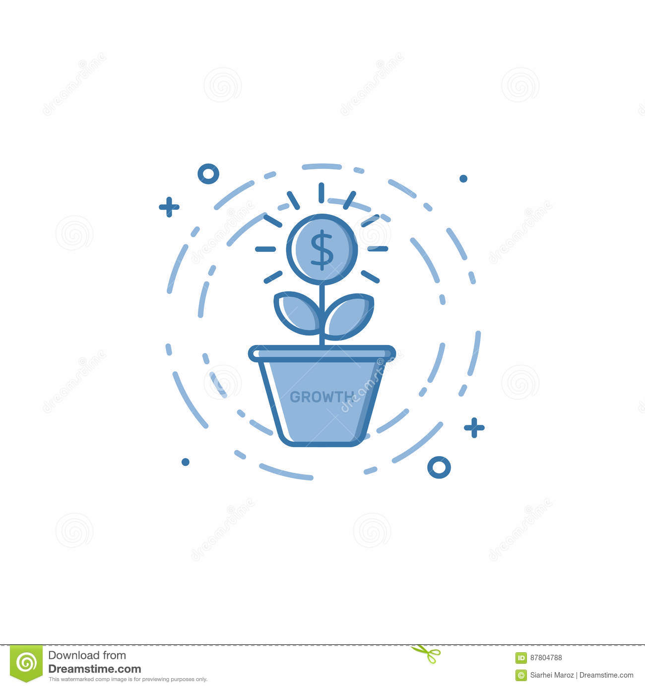 Vector illustration of filled bold outline coin plant growing out of the pot icon.