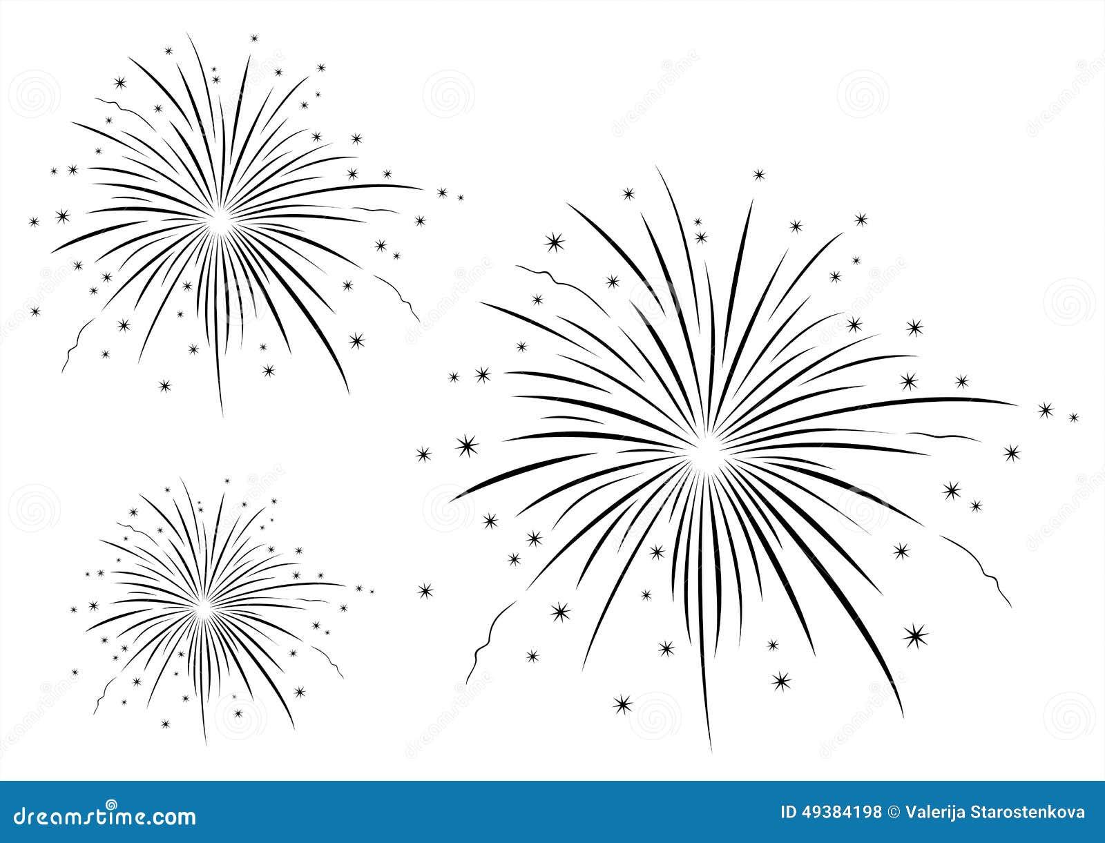Vector Illustration Of Fireworks Black And White Stock ...