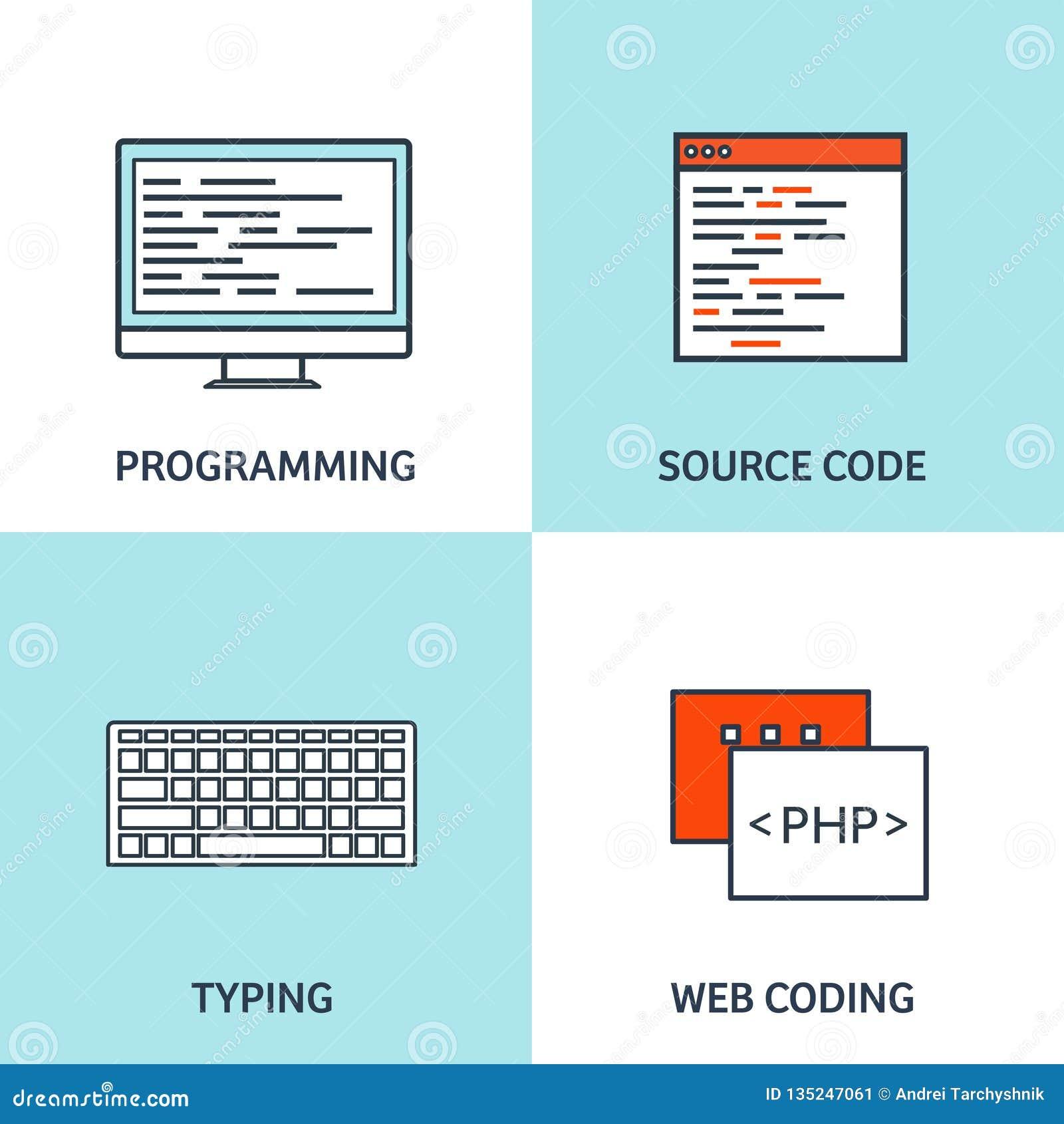 Vector illustration. Flat background. Coding, programming. SEO. Search engine optimization. App development, creation