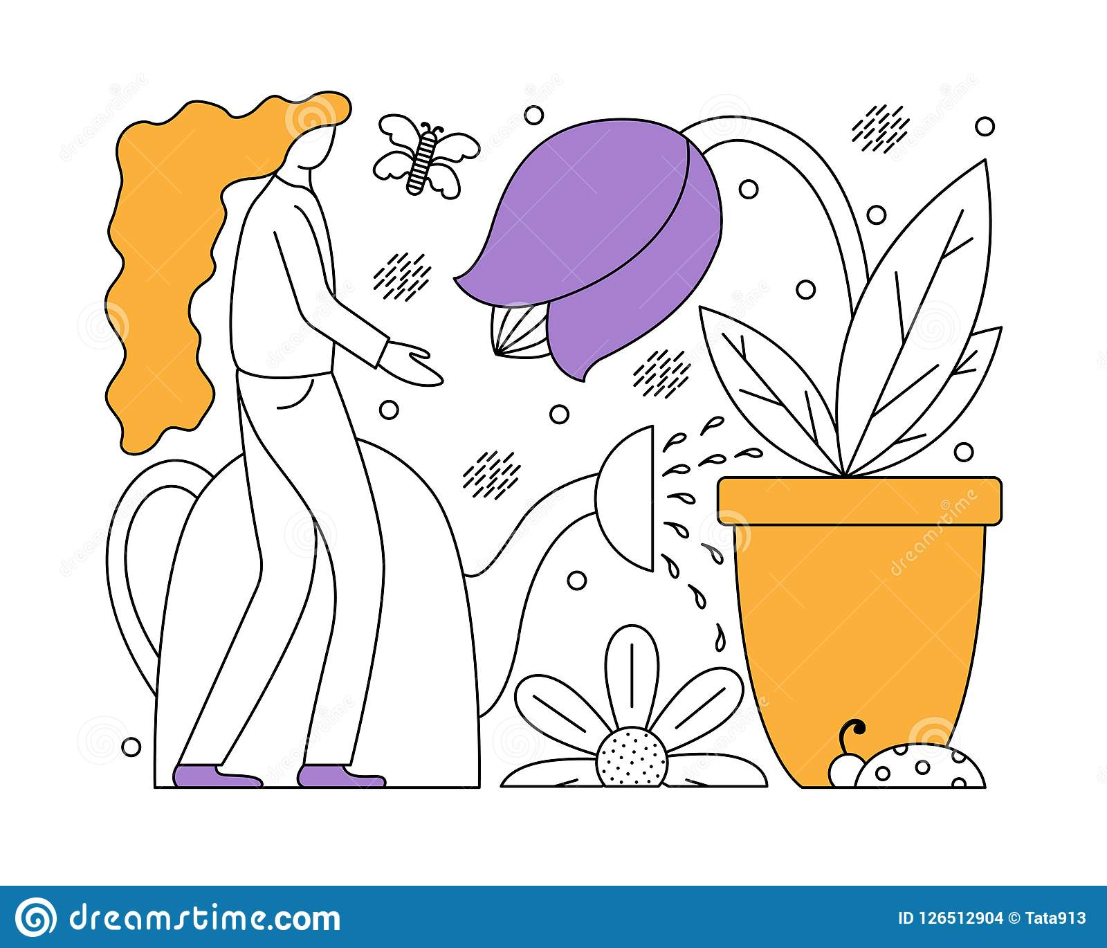 Vector illustration with a flat girl taking care of plants.