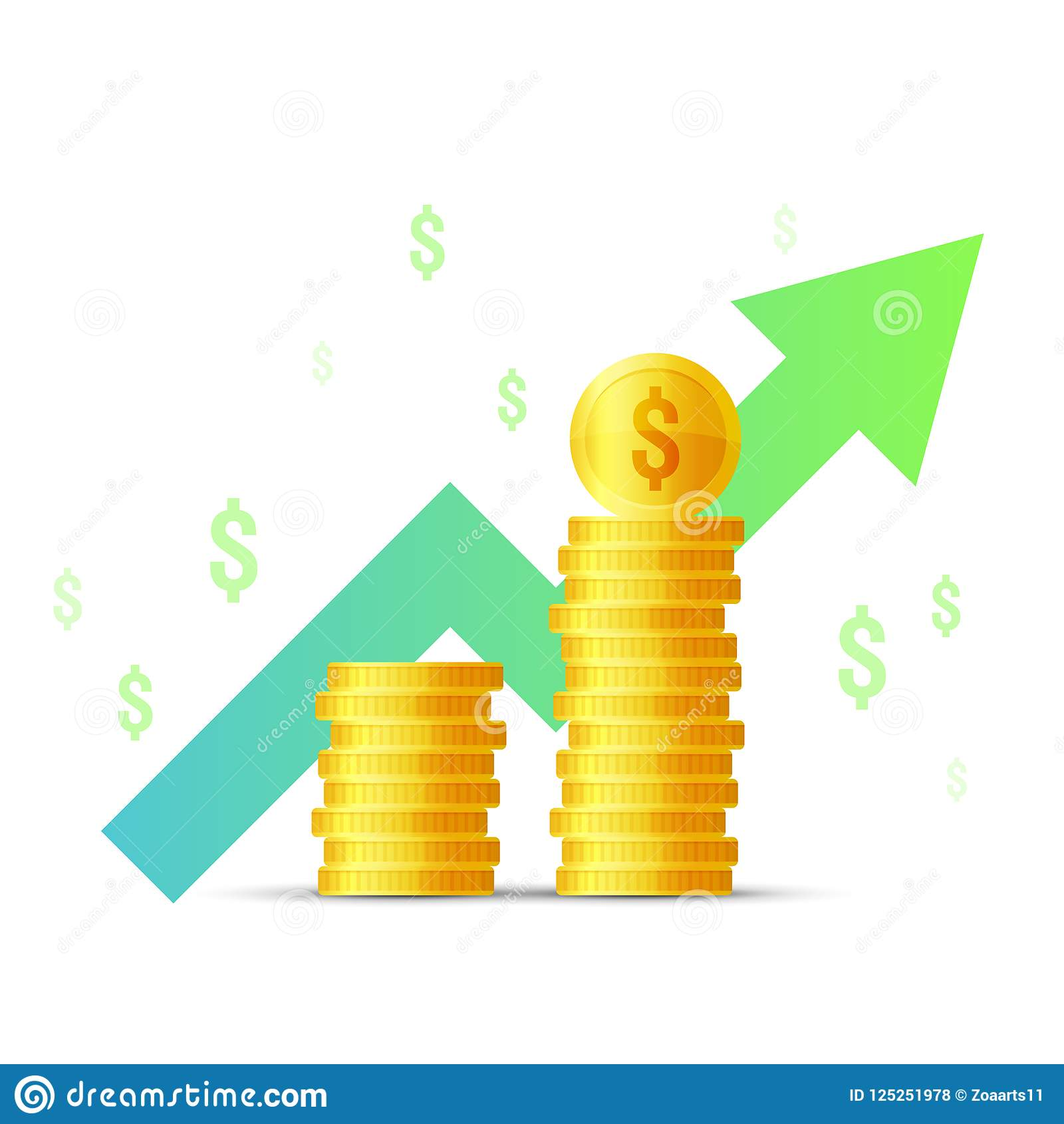 Vector Illustration flat icon Income increase, money growth, finance statistic report, investment productivity, financial performa