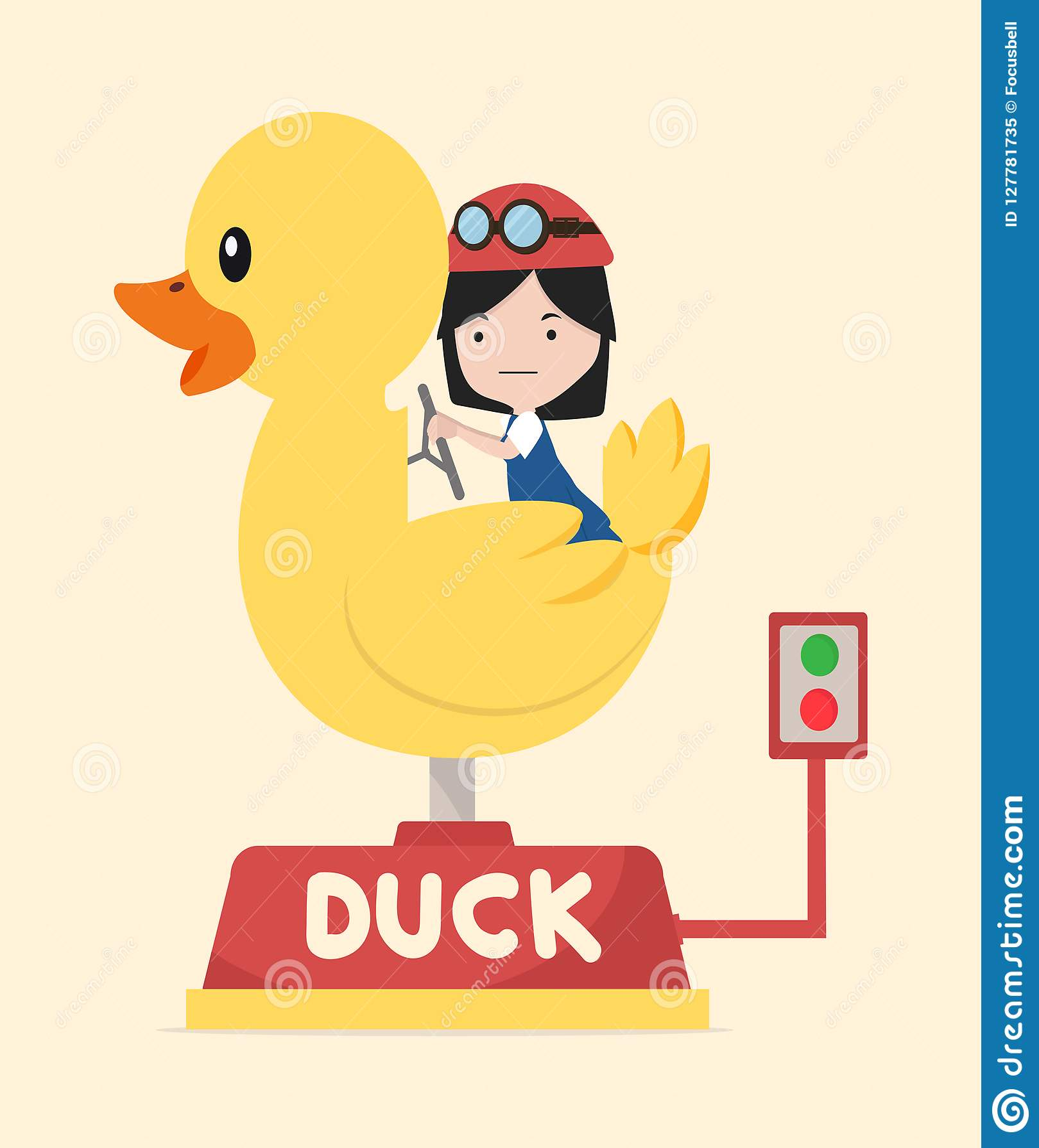 Girl riding duck