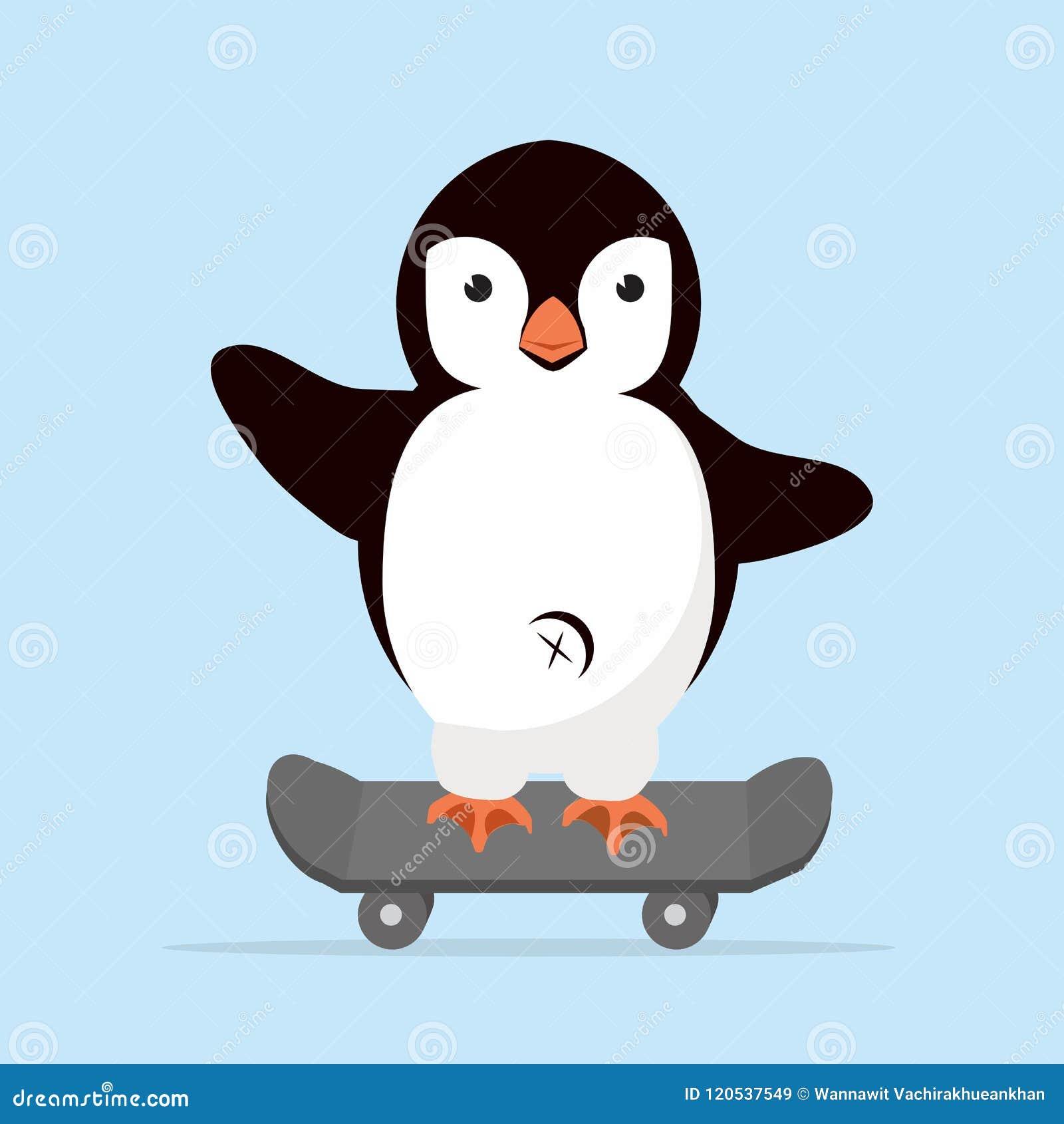 Little Penguin On Skateboarder Stock Vector Illustration