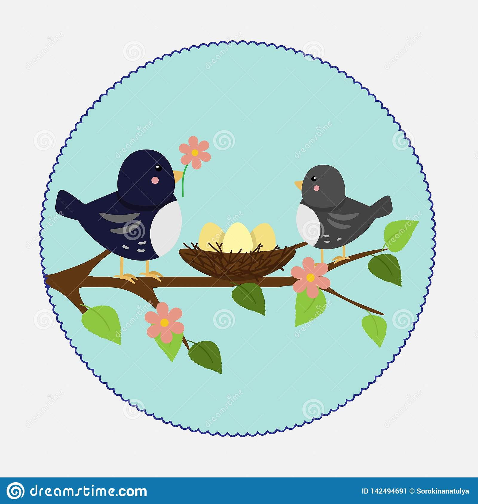 Vector illustration in flat style. Branch nest and birds