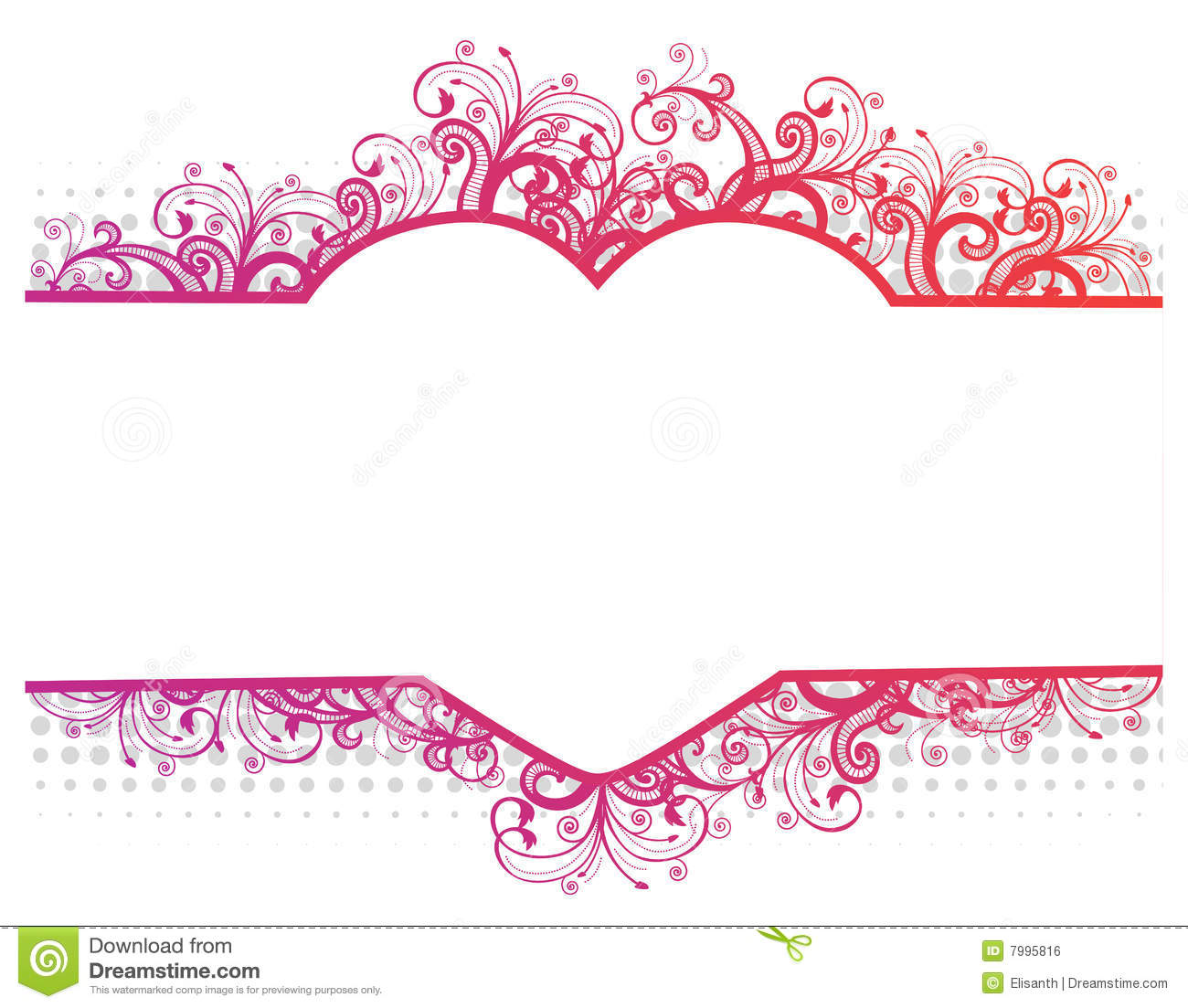 Free Stock Image  Vector illustration of a floral border with heartVector Floral Border