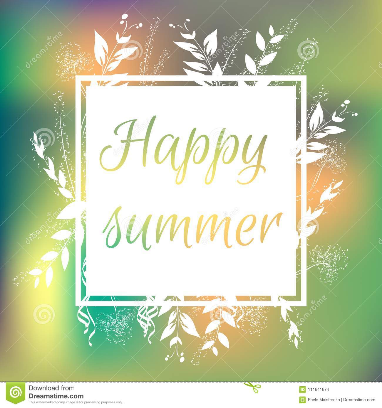 Floral Colorful Summer Background With White Frame. Happy Summer ...