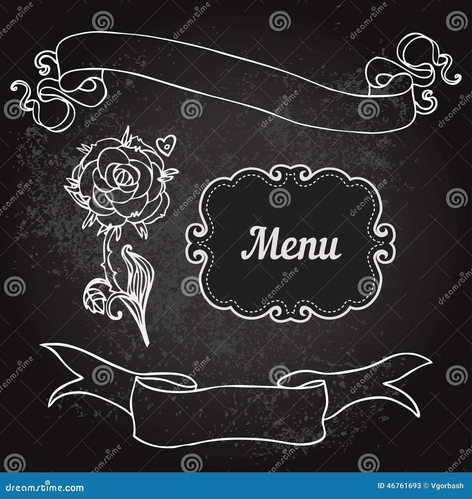 Vector Illustration Of Floral Design On Blackboard Stock
