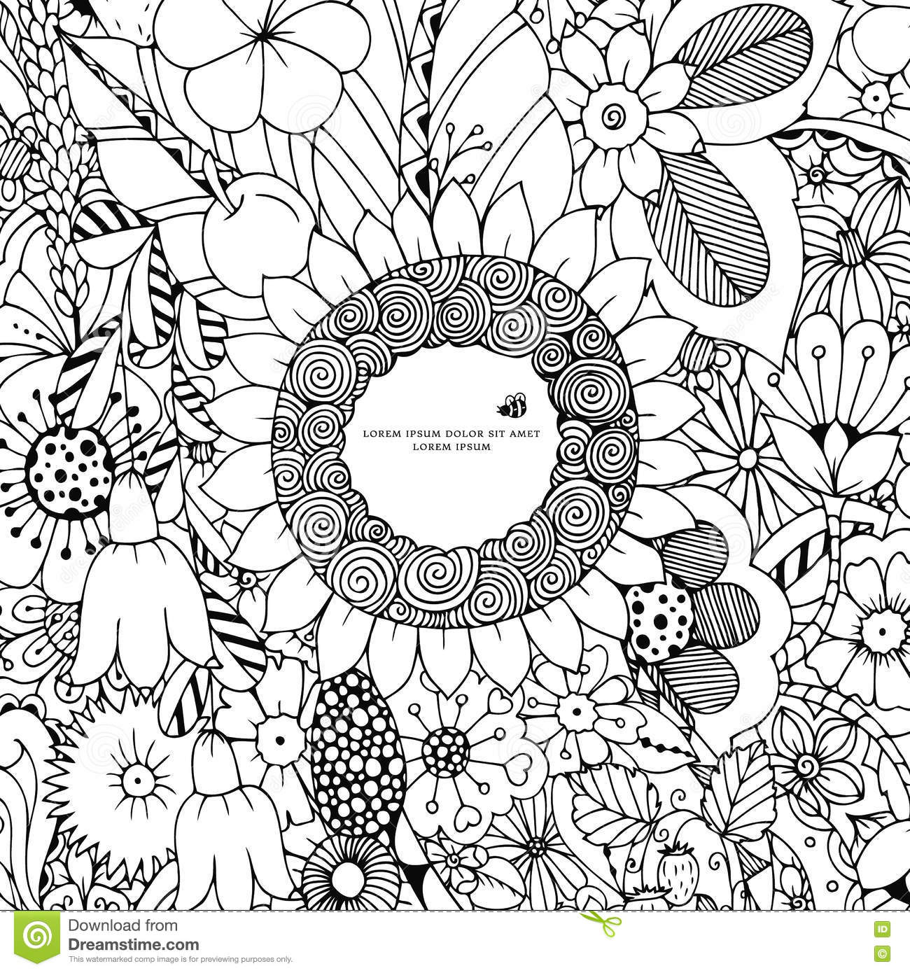 Vector Illustration Of Floral Frame Zen Tangle Dudlart Coloring Book Anti Stress For Adults Page Black And White