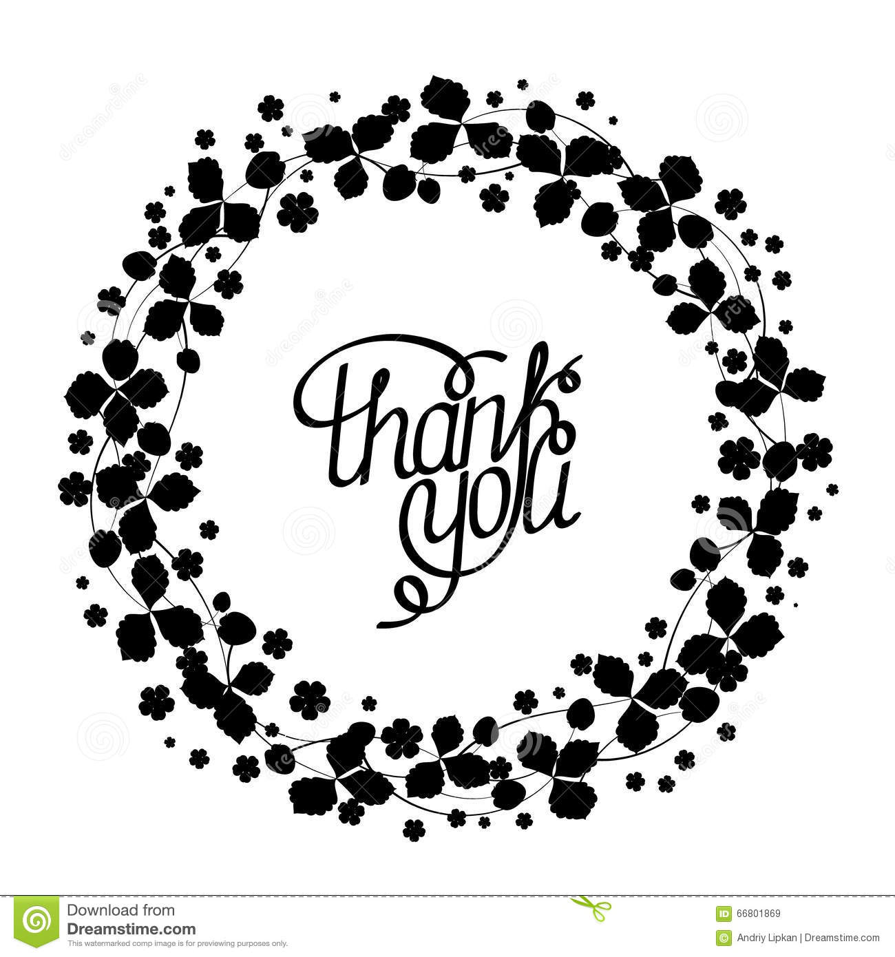 vector illustration of floral wreath template in silhouette style