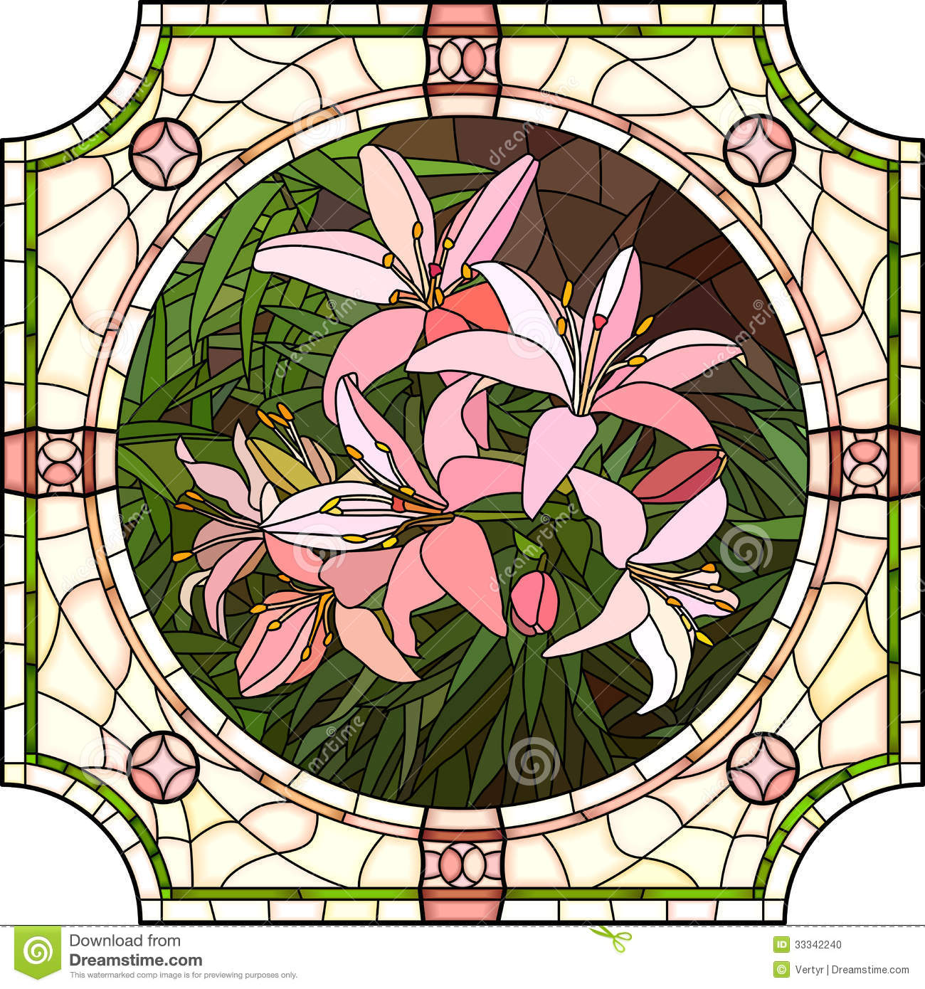 Vector Illustration Of Flower Pink Lilies Stock Vector