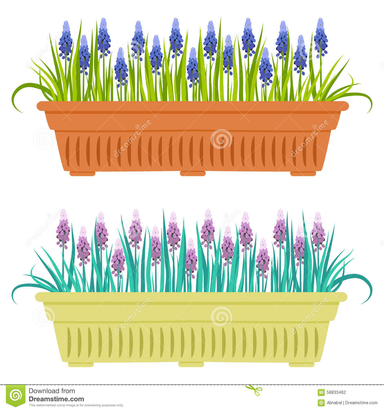 Vector Illustration With Flower Pot In Flat Style Stock