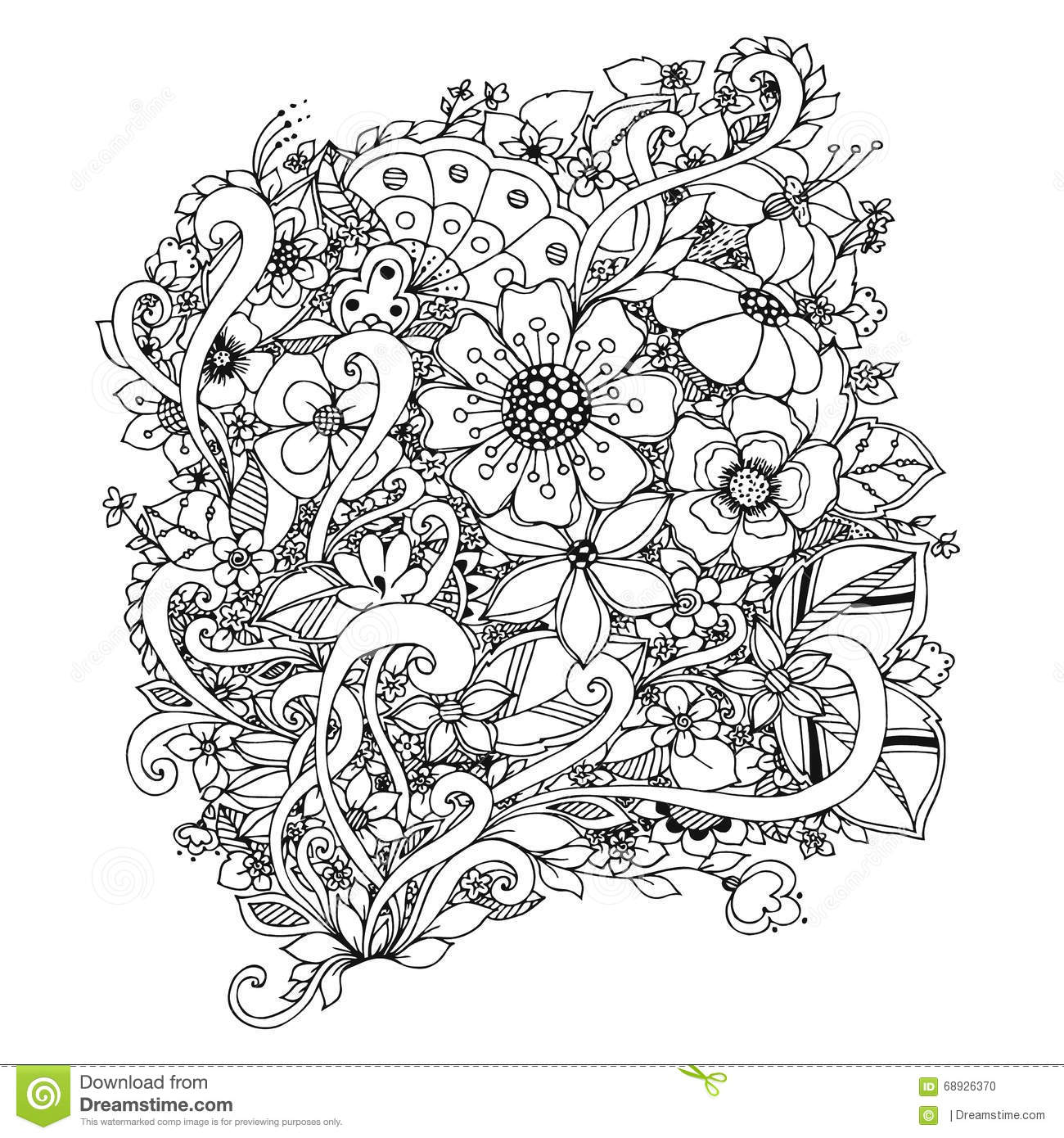 Vector Illustration Of Flowers Zentangle Doodle Zenart